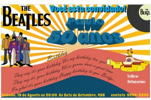 The Beatles Yellow Submarine Convite Digital