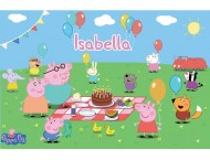 Peppa Pig Piquenique Placa Painel Digital Festa
