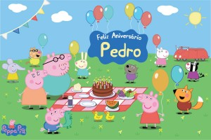Peppa Pig Piquenique Amigos Placa Painel Digital Festa